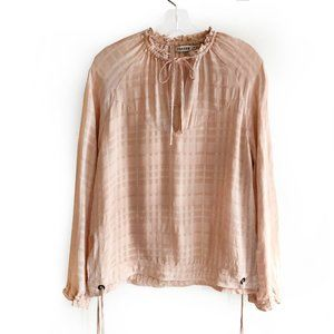 Farrow rose blush plaid gingham texture blouse top